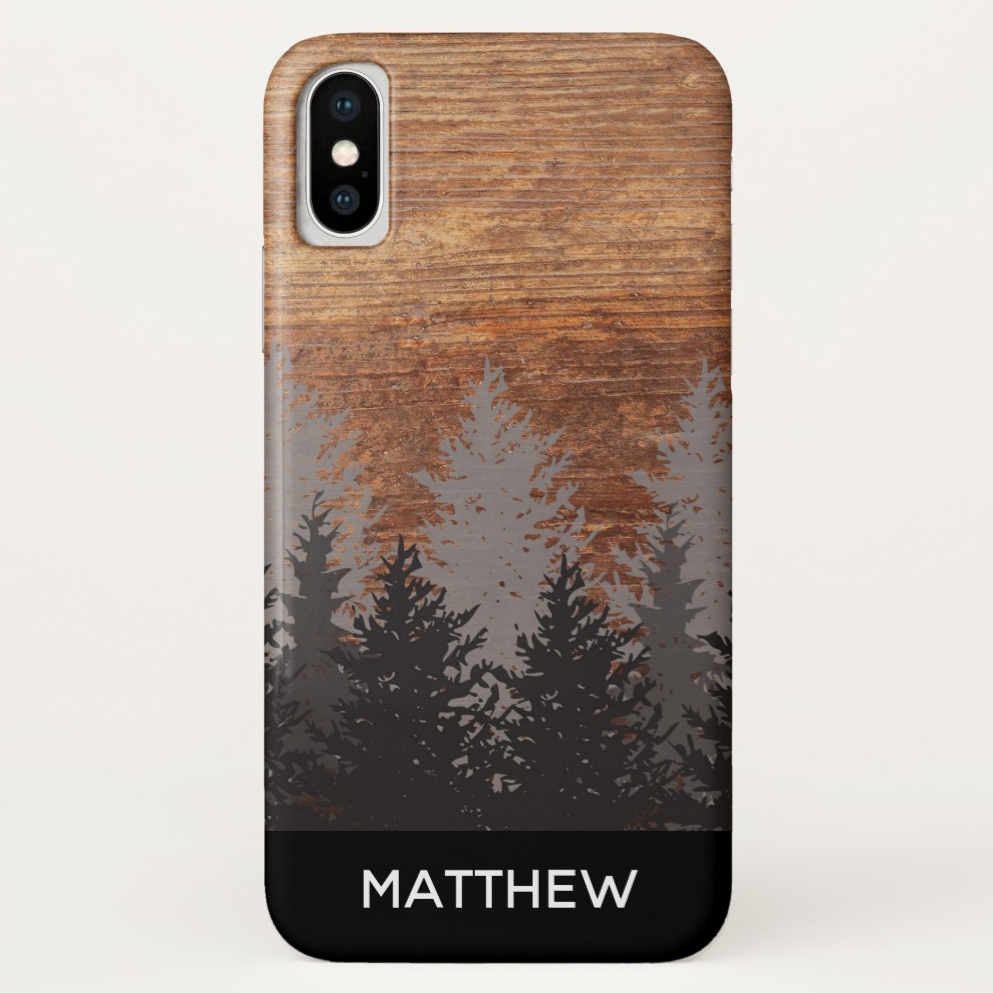 Rustic Pine Tree Personalized Cell Phone Cover