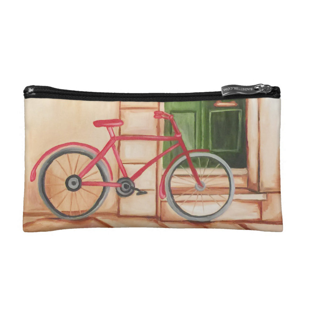 Red Bicycle Cosmetic Bag Personalized