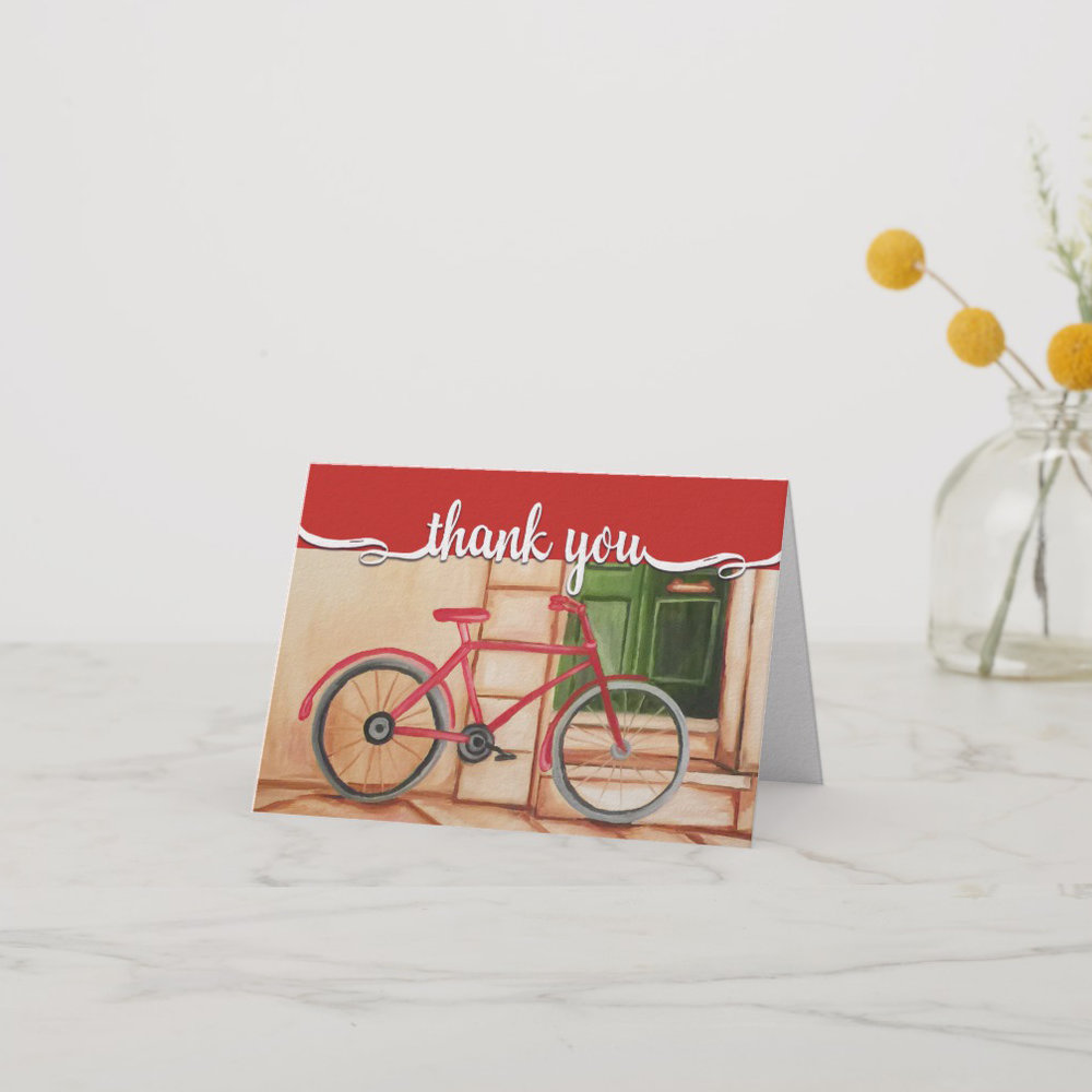 Red Bicycle Personalized Thank You Card