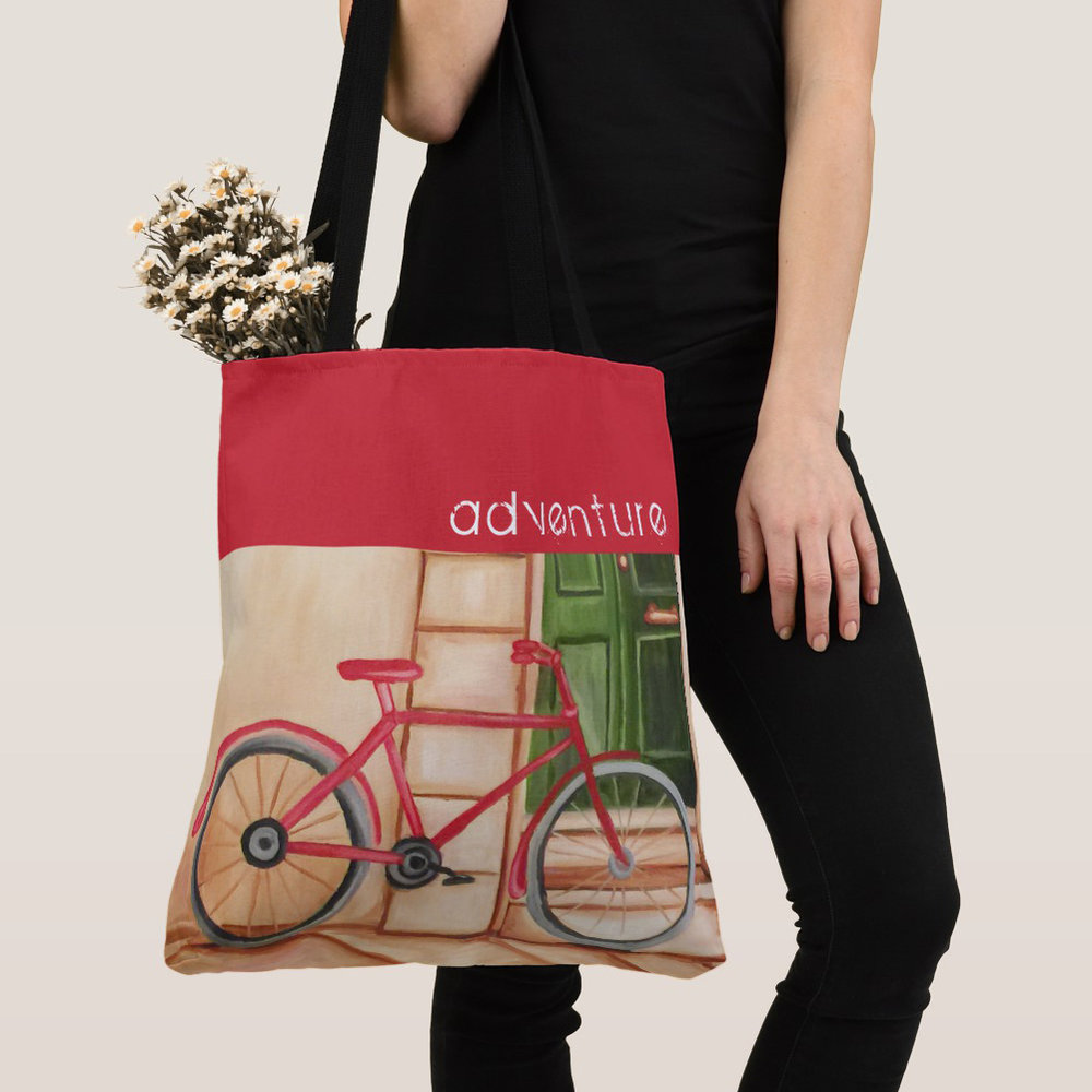 Red Bicycle Personalized Tote Bag