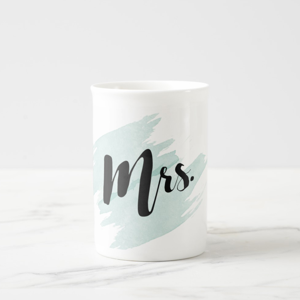 """Mrs."" Personalized Teal Watercolor Mug"
