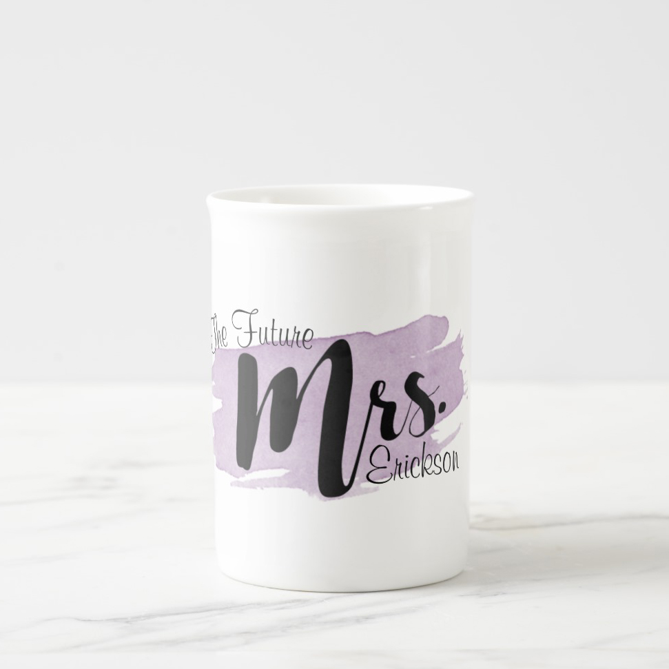 """Future Mrs."" Personalized Purple Watercolor Mug"