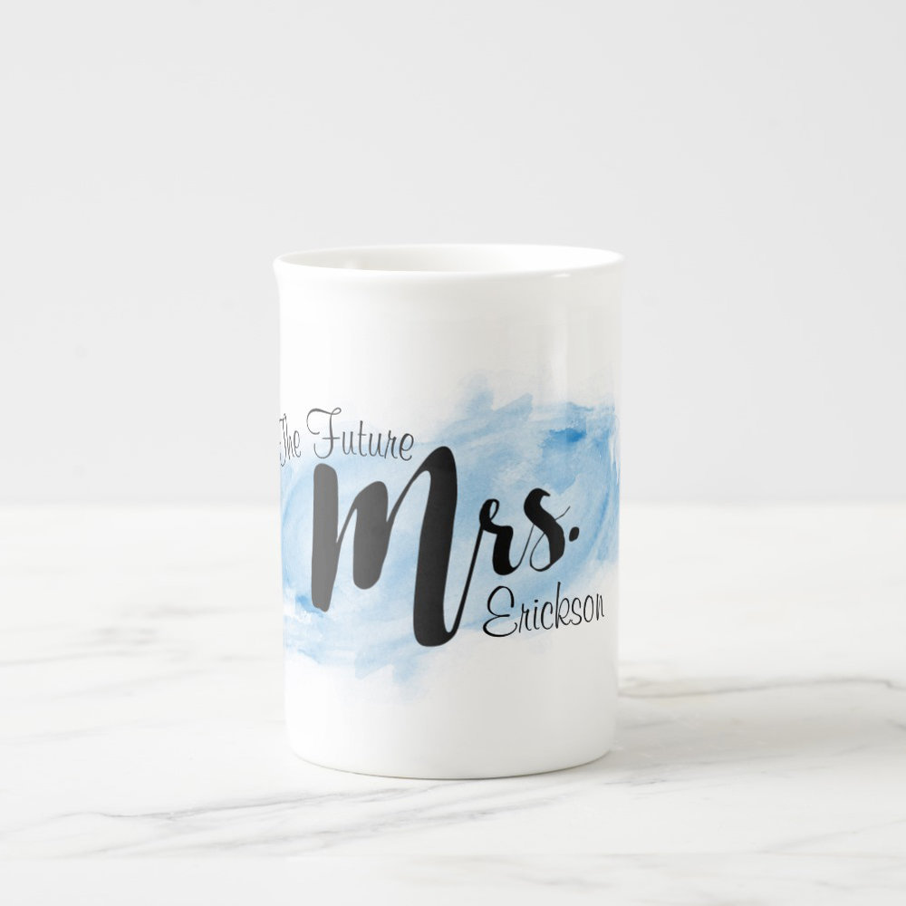 """Future Mrs."" Personalized Blue Watercolor Mug"