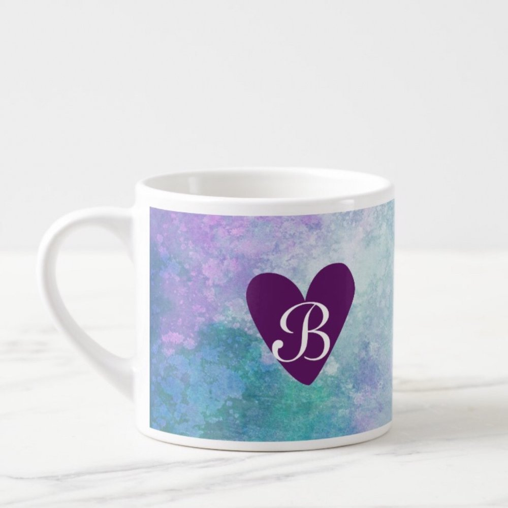 Watercolor Heart Personalized Espresso Mug Monogram