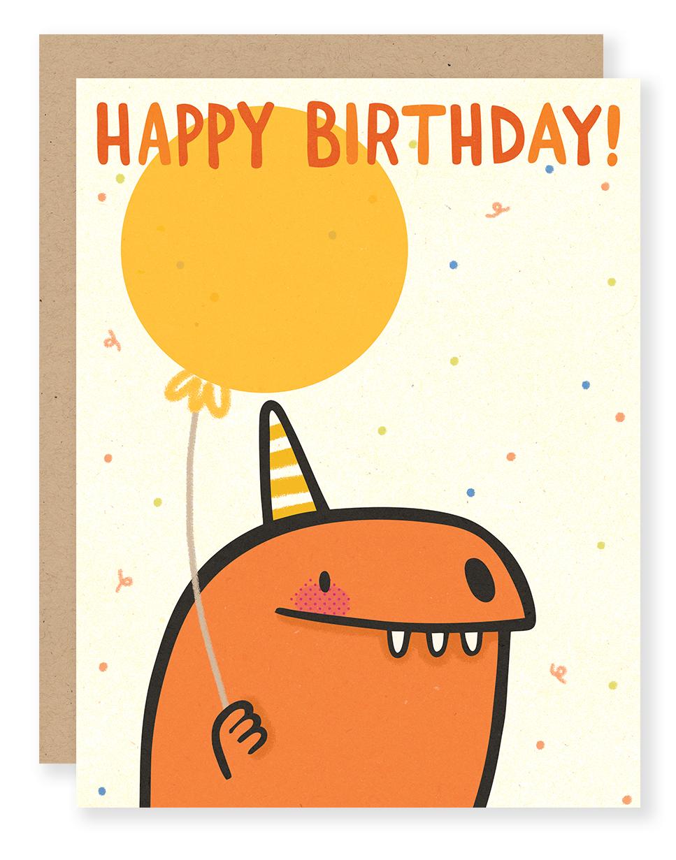 Birthday Dino card (red) for Cuddlefish Press