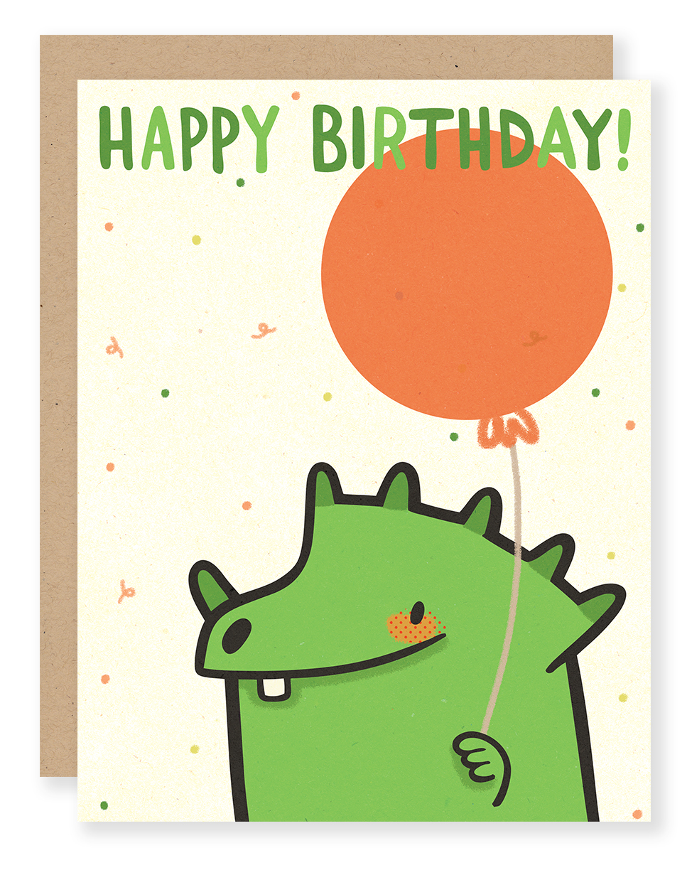 Birthday Dino card (green) for Cuddlefish Press
