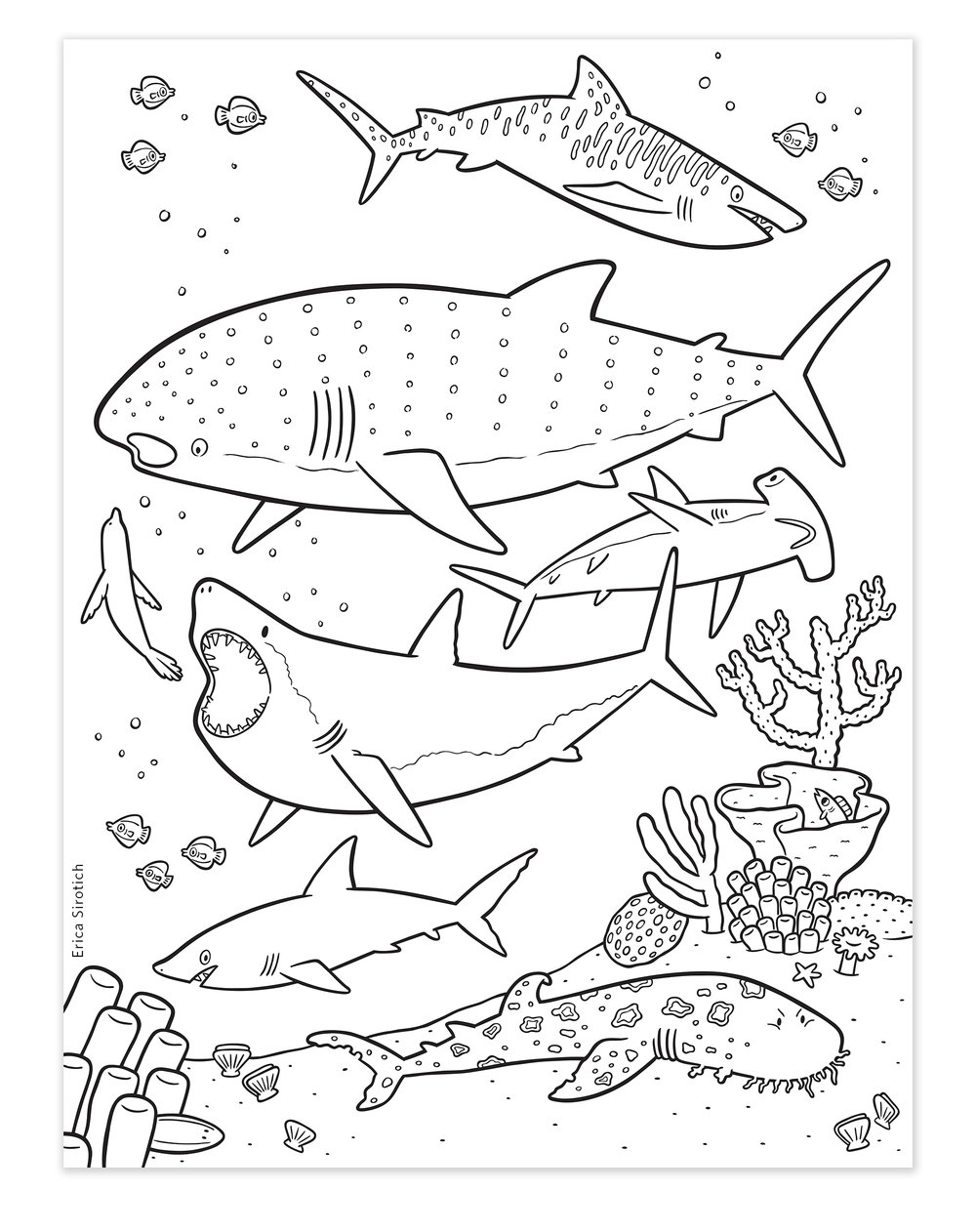 the book includes four huge fold out posters for kids to color about sharks the oceans zones coral reefs and the sandy sea bed - Posters To Color