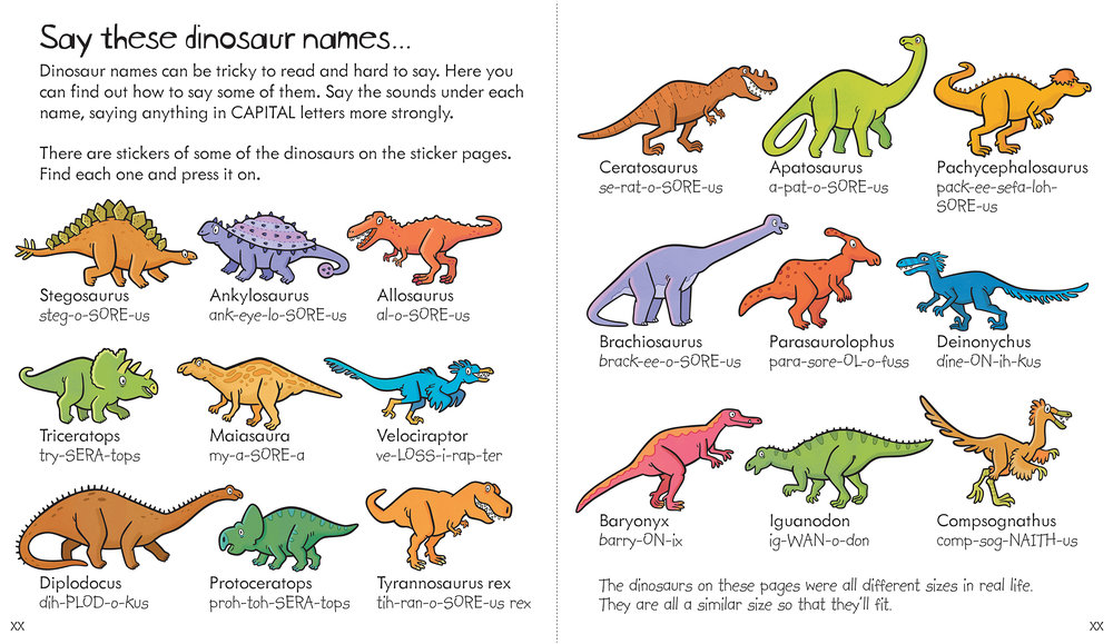 """Say these dinosaur names"" was published in Usborne's  Little Children's Dinosaur Activity Book ."