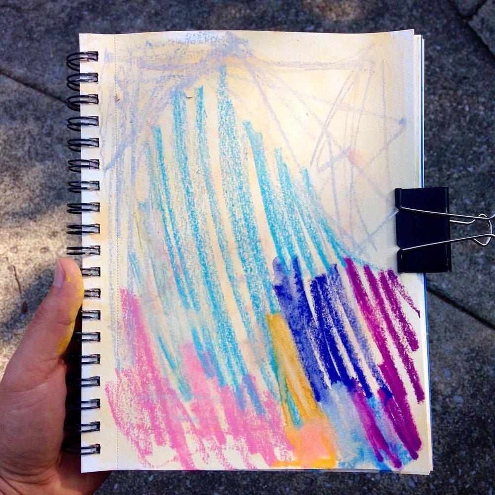 10/100  - #100daysofabstractworkk #art #color #colorpop #abstractexpressionism #sketchbook #abstractart #pcj30in30 #artistofinstagram #watercolorcrayons #crayons #100daysproject #workinprogress