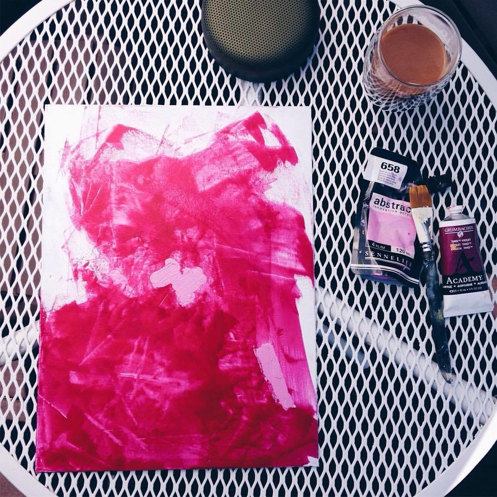 Day 8 of #100daysofabstractworkk - coffee and tunes, all I need -  #art #color #colorpop #abstractexpressionism #canvas #abstractart #pcj30in30 #acrylic #artistofinstagram #vsco #beoplaya2 #sennelierabstractacrylics