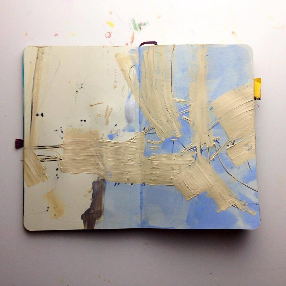 Day 2 of #100daysofabstractworkk, don't care for the composition but something about this color scheme, the beiges with the silver and sky blue, I'd like to come back to #abstractpainting #abstractart #acrylicpainting #moleskine #sketchbook #100daysofpainting  #pcj30in30