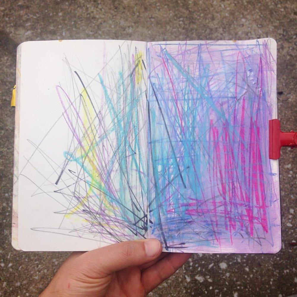 #sketchbook#moleskine #abstractart#abstractpainting#process#workinprogress #watercolor #pastel #sharpie