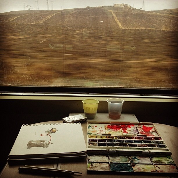 wendymacnaughton :     Mobile studio: train from Fez to Marrakech