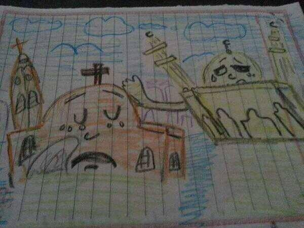 zaman-al-samt :     A schoolgirl in Upper #Egypt drew this to show solidarity with #Copts after 45 churches torched   via @MariamKirollos