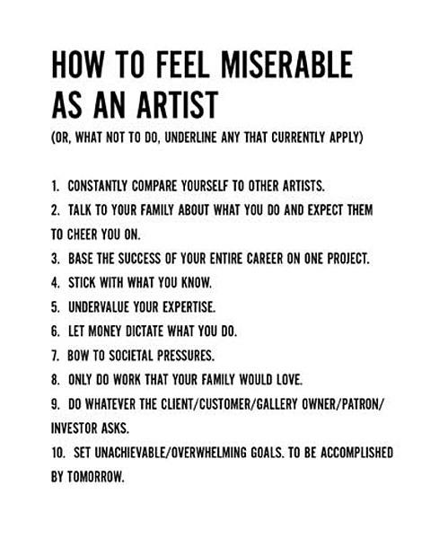 artkane :     How To Feel Miserable As An Artist