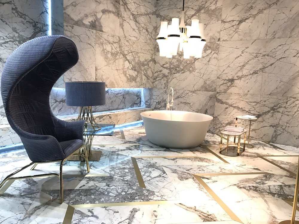 Antolini used three different natural stones: Invisible Blue, Invisible Grey and Calcite to create their Haute Nature exhibit at KBIS 2017 Photo: Lisa Stewart Photography