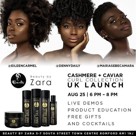 "@Curls ""Calling all UK curlies! August 25th we will be having soiree celebrating our launch of the new Cashmere + Caviar Collection at @beautybyzara! Come join us for drinks, music, and a night of fun as we educate, sample, and do live demos. The first 50 guests will receive a free product gift bag.  And the best part... Entry is FREE! Come join @dennydaily @eileencarmel @mariasebecamara 🖤▫️🖤▫️ Will you be joining us? #notfortheaverage #cashmereandcaviarcollection #4chair #teamnatural #frizzfreecurls"""