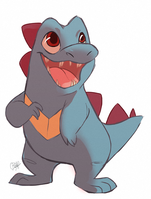 De mis Pokémons favoritos, aún tengo ahí una copia de Heart Gold sin terminar. rollingrabbit: Pokeddex Day 11: Favourite Water Type How can you not love this doofus? I chose him kind of reluctantly at the beginning of Soul Silver, but he stuck with me and became a ferocious beast that got me all the way to the end. Confession: The first game I played all the way through was SS (I know. I didn't have a game boy in my youth), so that makes Totodile my first legit starter. (I had played through half of Fire Red before that with Bulbasaur, but I don't value him as much. You know what's crazy though? I found out later that I had unknowingly given them both the same name: Benjamin.)