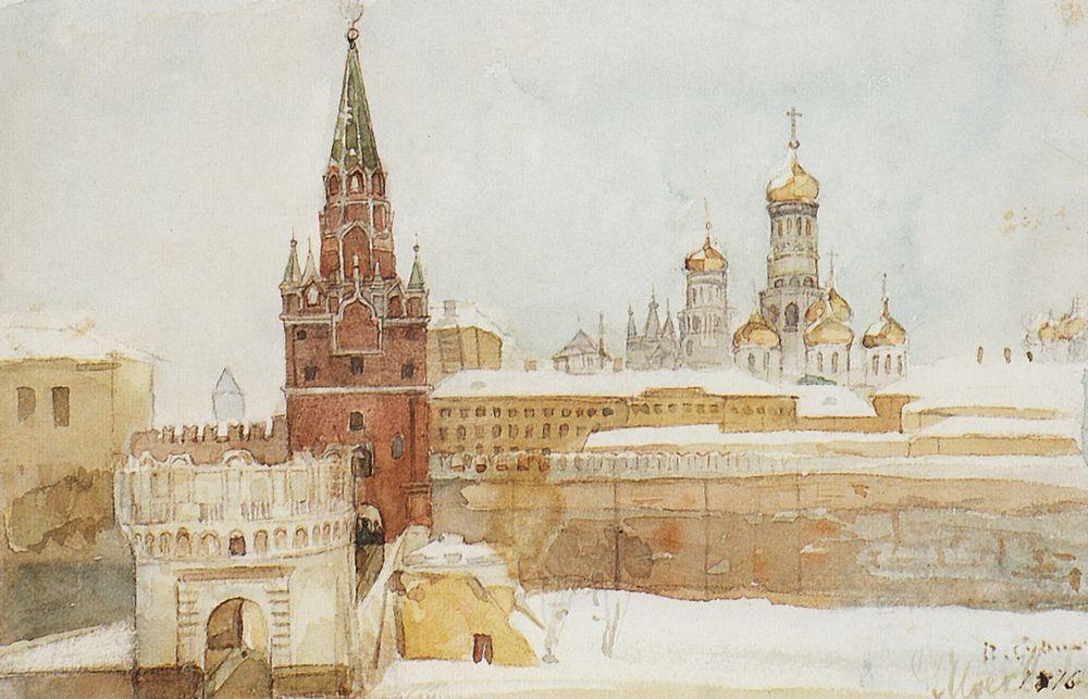 Vasili Soerikov - Zicht op het Kremlin in de winter (1876)