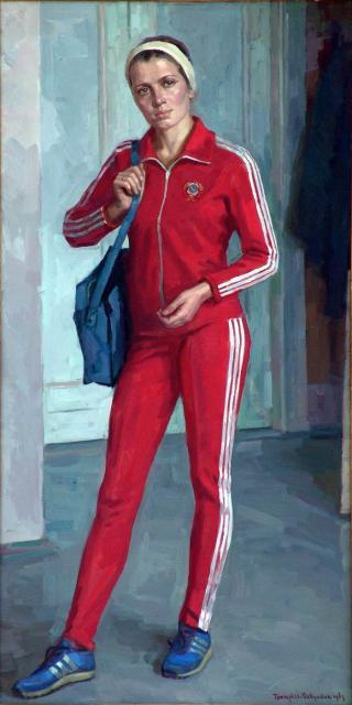 P. Grigorev-Savoesjkin - Portrtet van Aleksandra Deverinskaja, wereldrecordhoudster snelwandelen (1983)