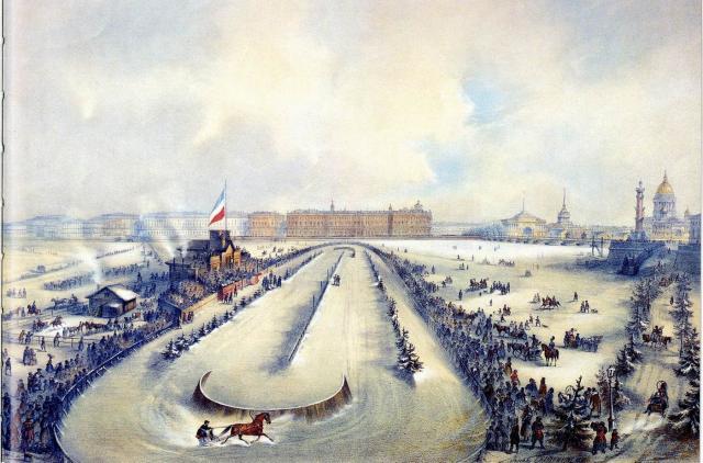 A. Avnatamov/N. Breze - Draverij op de Neva (1859)