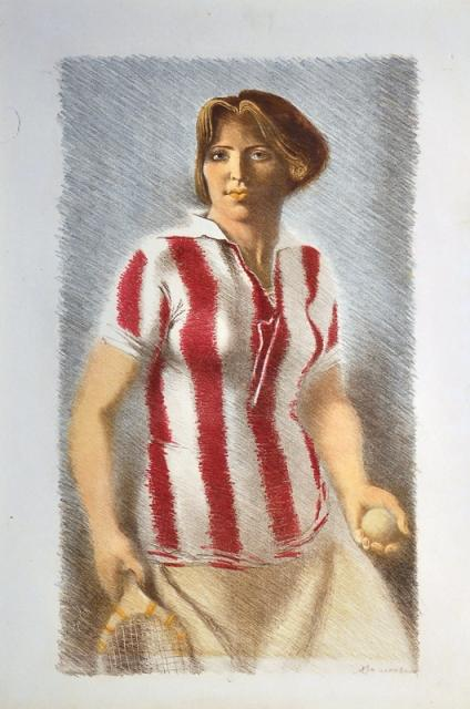 A. Samochvalov - Meisje in voetbalshirt (jaren dertig) (1)