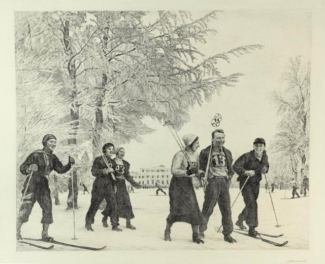L. Ovsjannikov - skiwandeling (1940-1950)