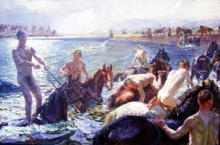 Plastov baden met paarden socialistisch realisme