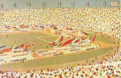 Krestovski eiland feest voetbal toeschouwers tribune