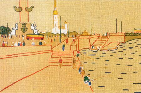 Neva Sint-Petersburg Boris Jermolajev litho