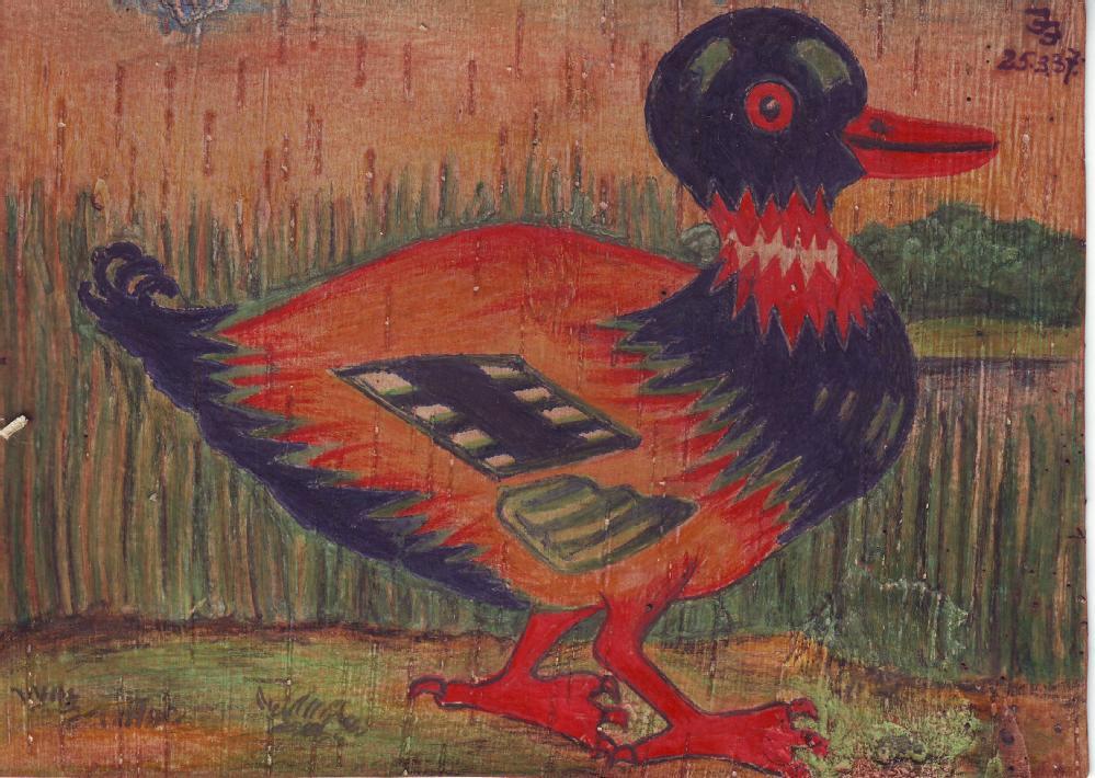 ansichtkaart Goelag berkenbast eend
