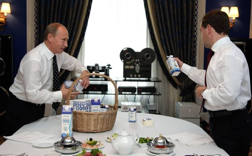 Poetin Mevedev sancties ontbijt