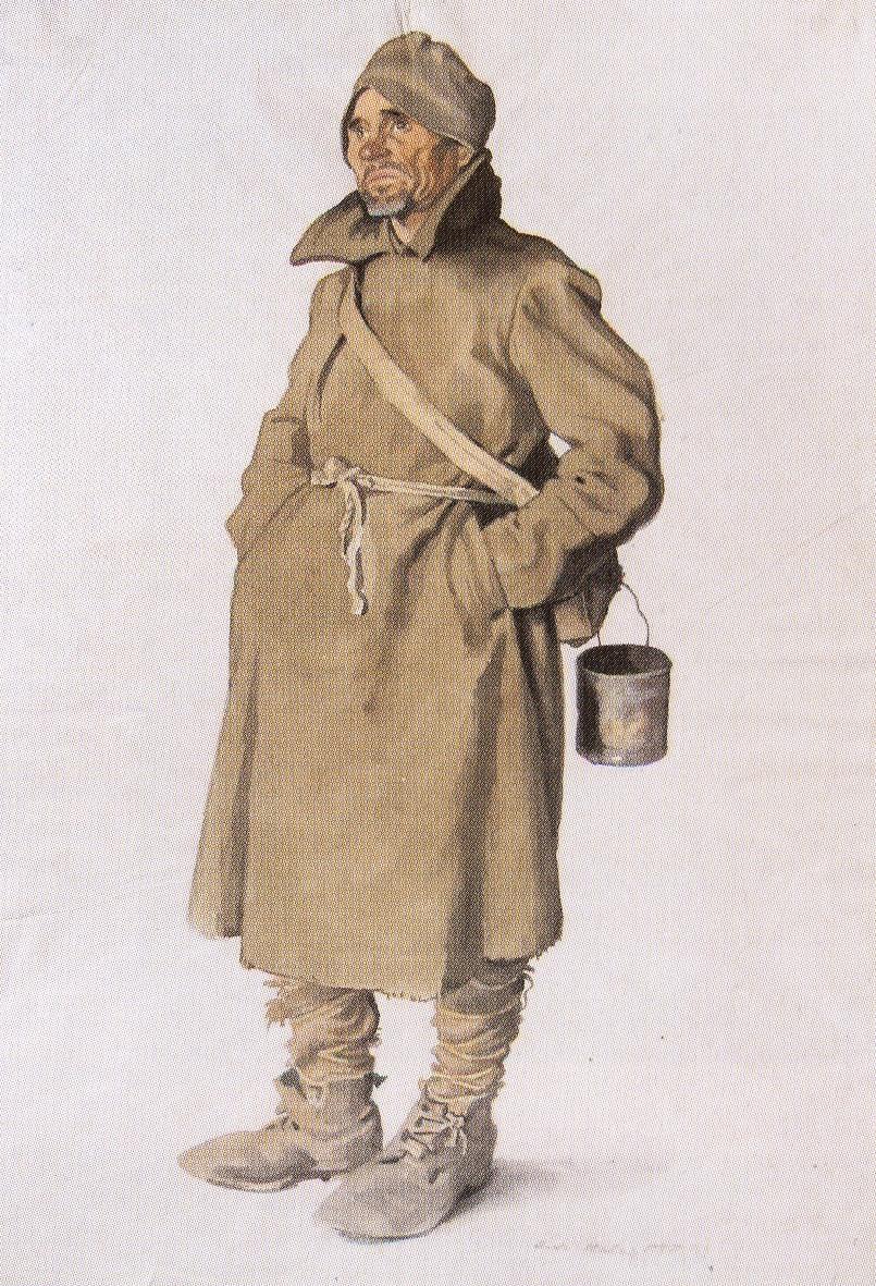 Olaf Jordan - Russischer Gefangener mit Essnapf, O.J.Stalak VIII