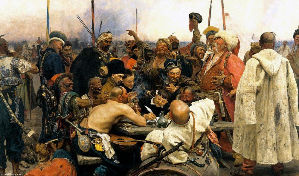 I.Repin:De Zaporozje-Kozakken schrijven een brief aan de Turkse sultan