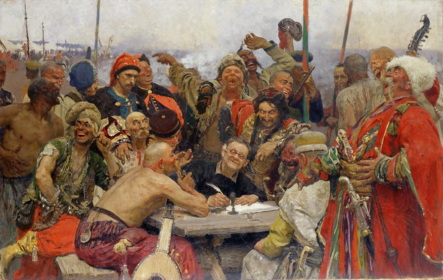 I. Repin De Zaporozje-Kozakken schrijven een brief aan de Turkse sultan - variant 1893