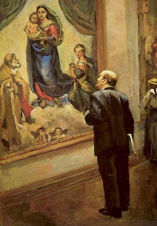D. Nalbandjan:Lenin in de Gemäldegaleri in Dresden in 1914
