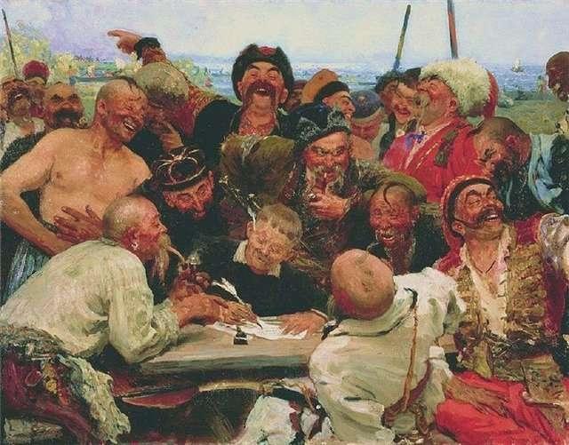 I.Repin: De Zaporozje-Kozakken schrijven een brief aan de Turkse sultan - variant 1887