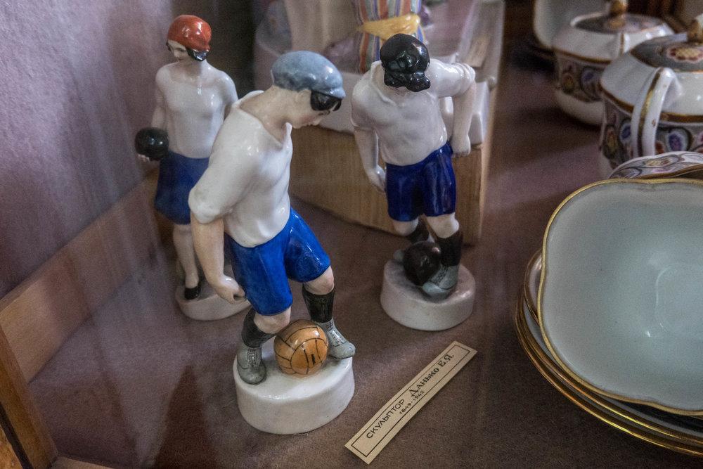 Beeldje voetballer Sovjetunie porselein