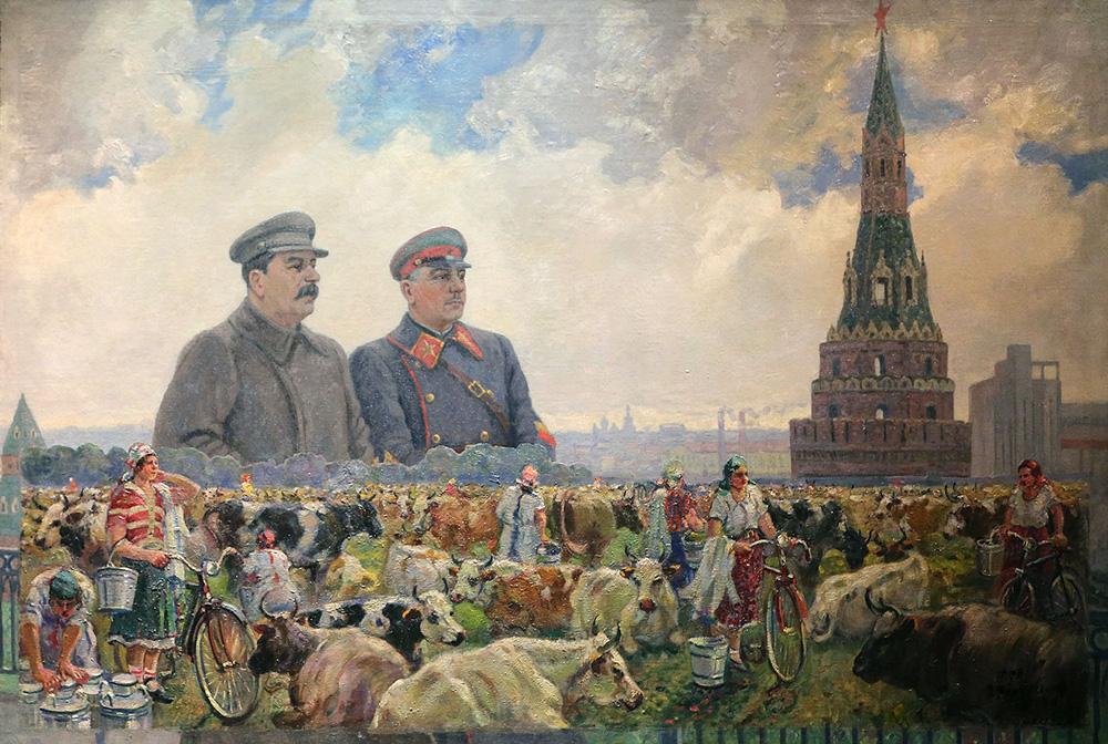 Gerasimov, Stalin, Vorosjilov, schilderij Sovjetunie, Kremlin