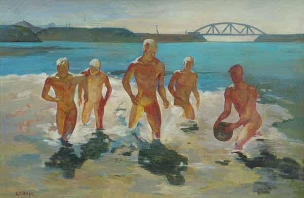 Jongens rennen het water uit - 1930-1935
