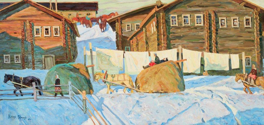 Igor Popov - Groot zonnig dorp in de sneeuw. (1968)