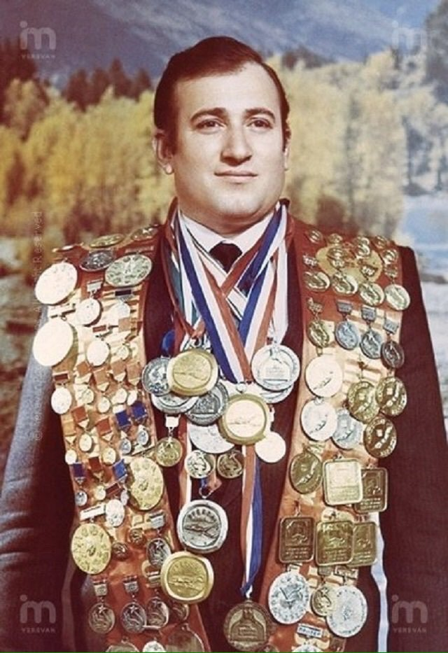 Soviet world champion finswimmer Shavarsh Karapetyan who saved the lives of 20 people in 1976 when he saw a trolleybus plunge into a reservoir