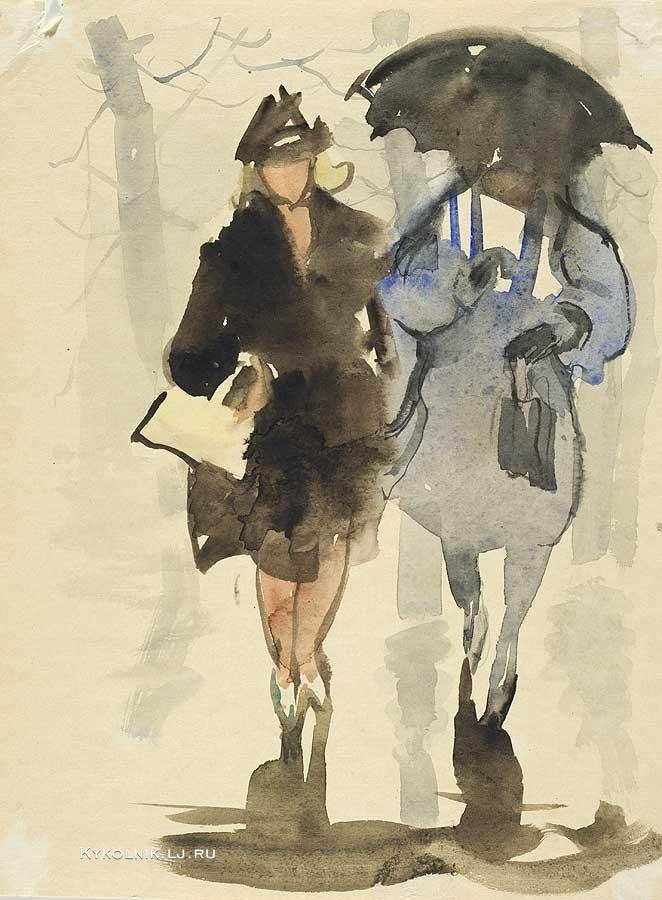 Мыслина Мария Владимировна (Россия, 1901 - 1974) «Дождь» 1960-е.jpg
