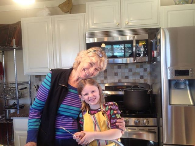 Cathy and her granddaughter, Maya, in the Cliff's Edge kitchen