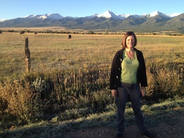 Jeri and the Sangre de Cristo Mountains at dawn