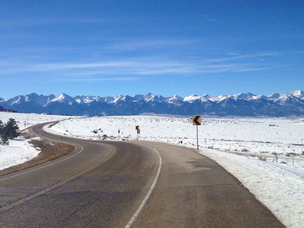 The Sangre de Cristo Mountains, viewed from the highway through the Wet Mountains coming into the valley east of Westcliffe