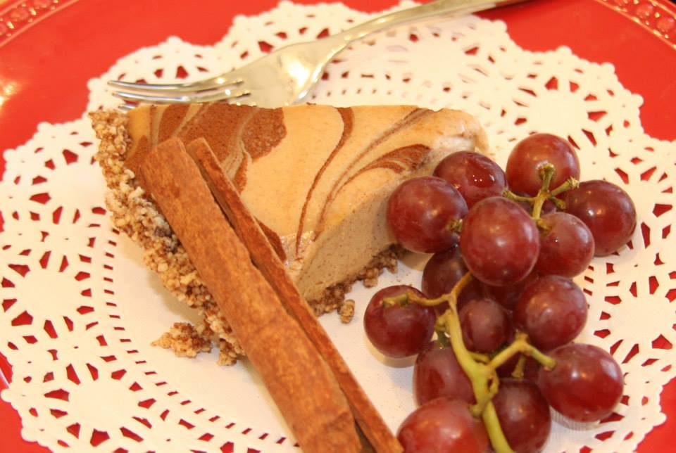 Vegan no-bake cinnamon cheesecake with grapes. Photo by Audie Wood