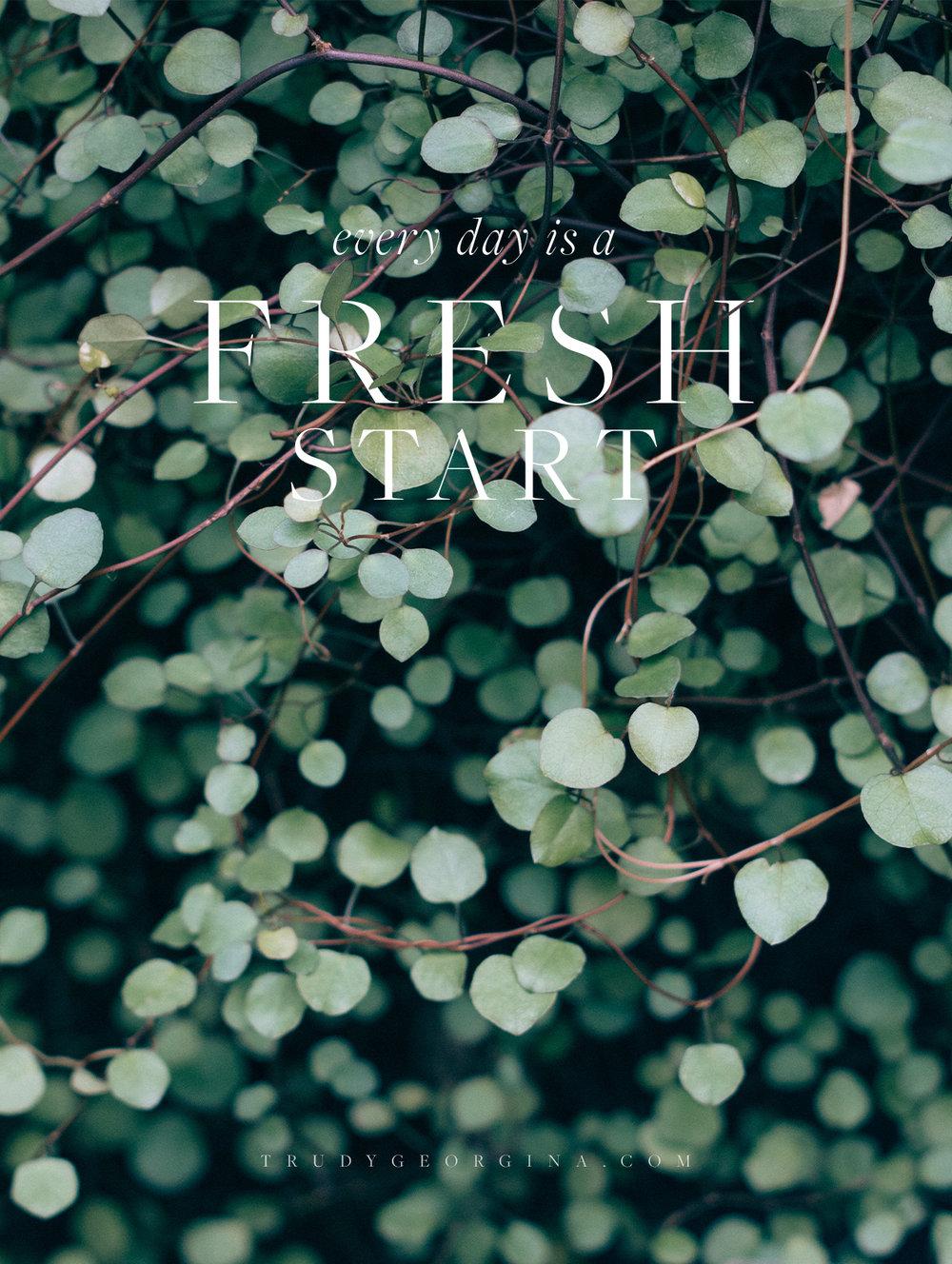Starting fresh | trudygeorgina.com