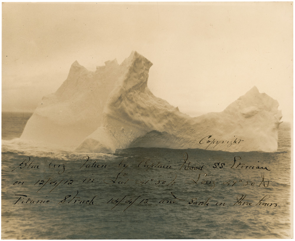 Though there aren't any known photos of the actual iceberg taken on the day of the collision, there is this photo, which sold in 2012 for $25,200. This places it 2-3 days floating time away from where the ship sank.  The shape also matches sketches made by eyewitnesses who survived the tragedy, including the ship's lookout who first spotted ice on the horizon.