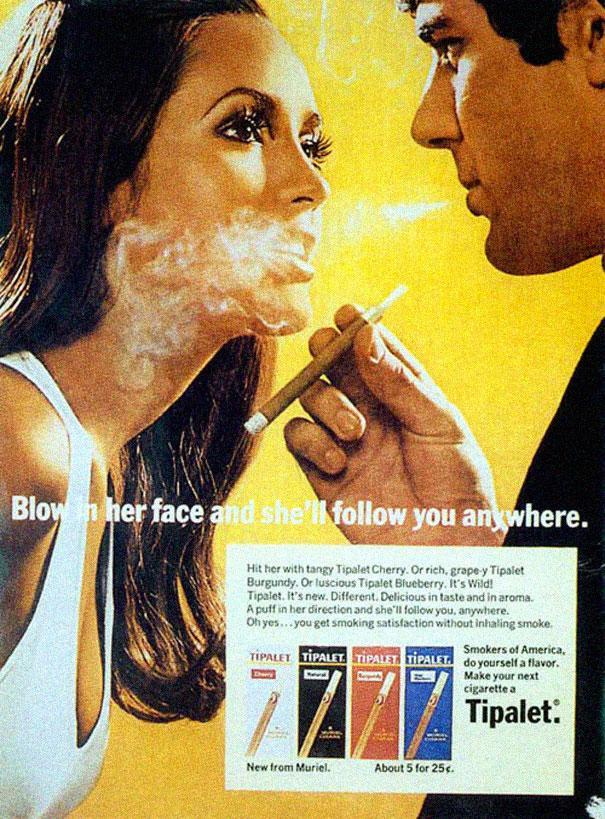 1969 ad campaign for Tipalet cigarettes by Muriel